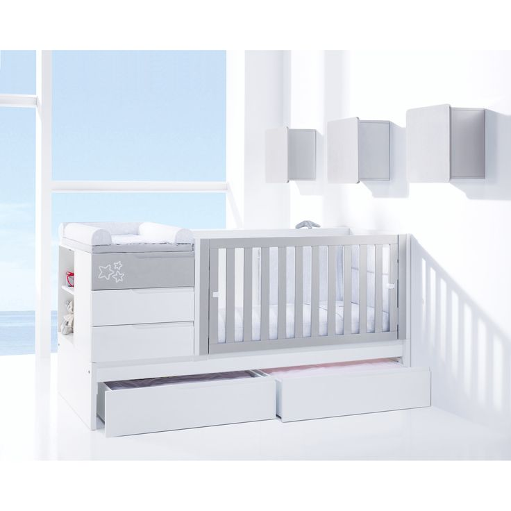 Beautiful Evolutive cot from Alondra in silver with star detail. Coverts to a toddler bed then a junior bedroom! Available in white, purple & brown with free UK delivery! Matching items also available. You can view the collection here http://www.casabebe.co.uk/evolutive/