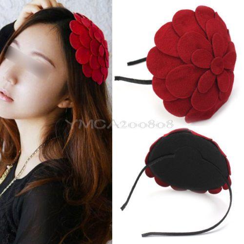 Elegante Rojo Tela Flor Grande Diadema Tocado Moda para Chica Mujer Vintage | eBay