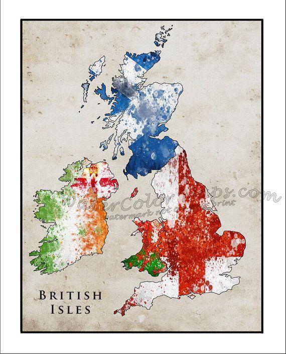 BRITISH ISLES Map, Watercolor Flag Map, England Map, British Map, Union Jack, Wales, Ireland, Scotland, Great Britain, England