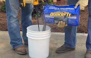 mixing concrete resurfacer - Photo courtesy Quikrete Concrete via youtube.com
