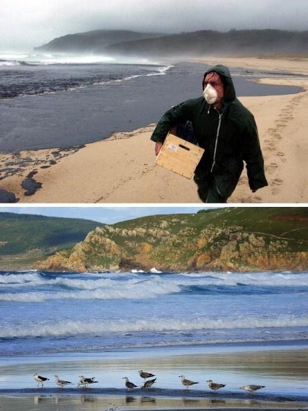 Playa gallega en noviembre de 2002 y en la actualidad.