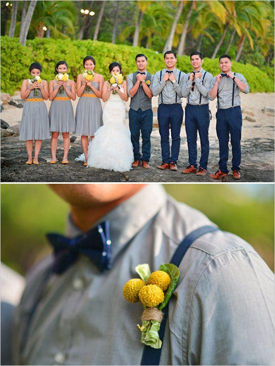Gray and navy groomsmen with yellow boutonnieres. Captured By: Stephen Ludwig ---> http://www.weddingchicks.com/2014/06/09/ohana-wedding-in-honolulu/