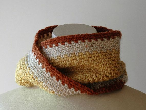 Crochet infinity cowl in yellow ochre cream and rust by KororaCrafters