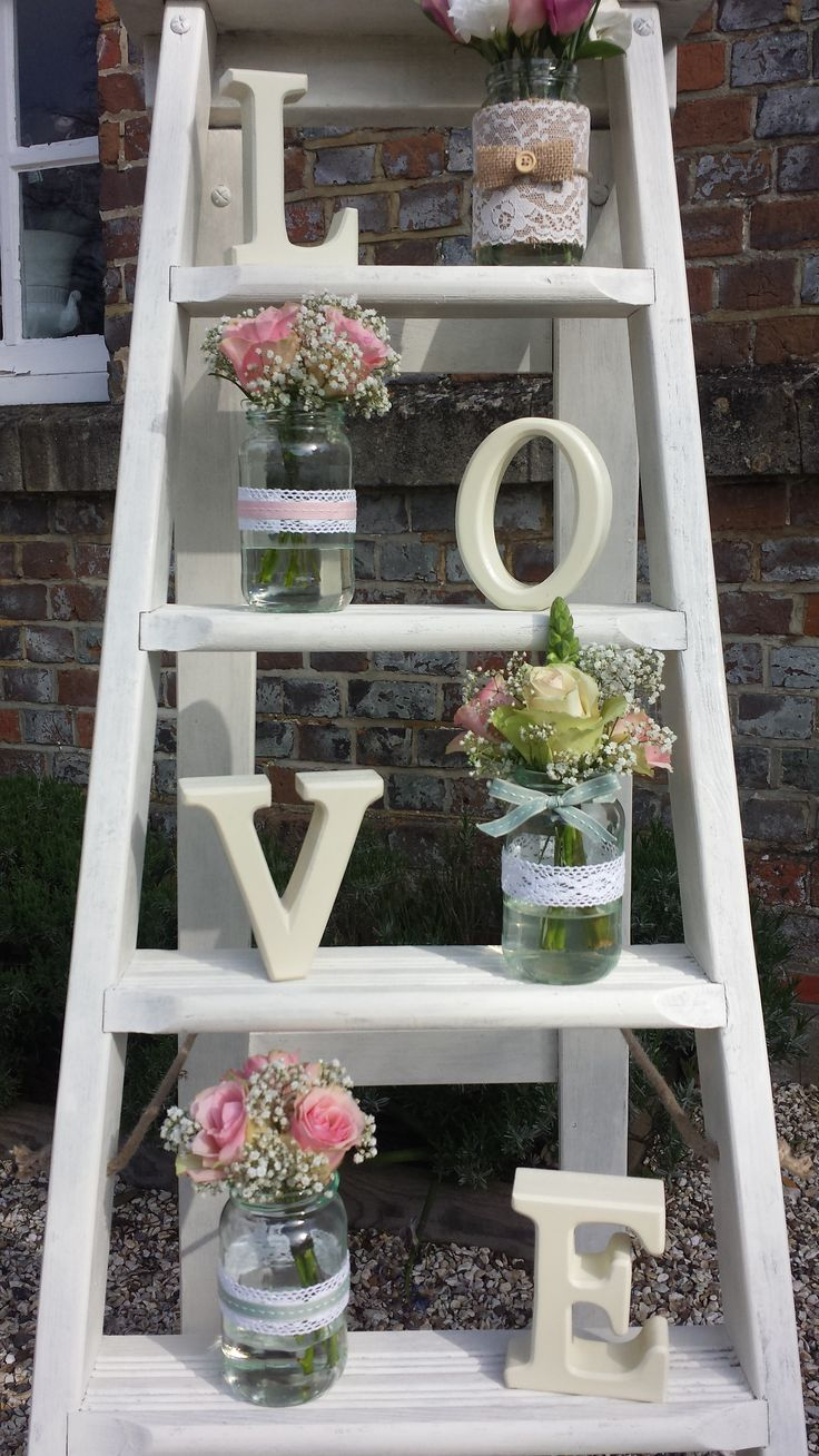 Rustic step ladders and LOVE letters