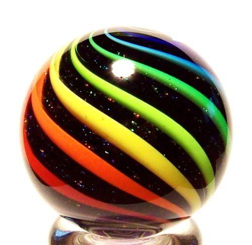 "Eddie Seese Glass 1 1 2"" Black Lutz Rainbow Dichroic Double Twist Marble   eBay"