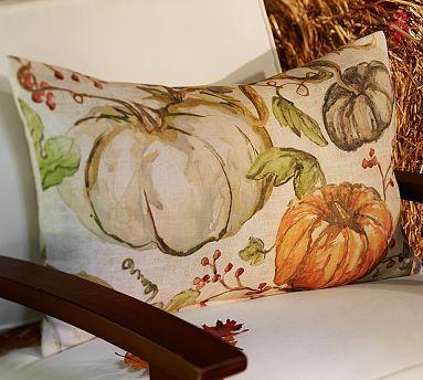 Painted Pumpkin Patch Outdoor Lumbar Pillow #potterybarn