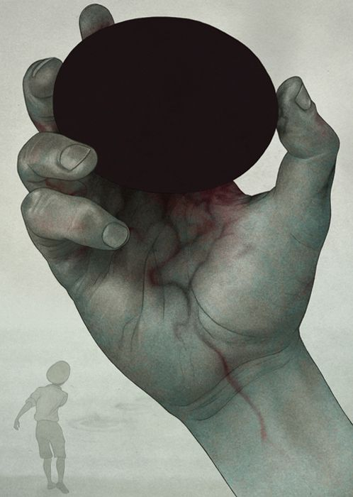 made by: Björn Griesbach - (This piece intrigues me; The hand is badly effected by the stone but the blackness attracts)