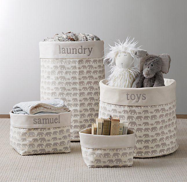 Nursery Canvas Storage - Grey Elephant