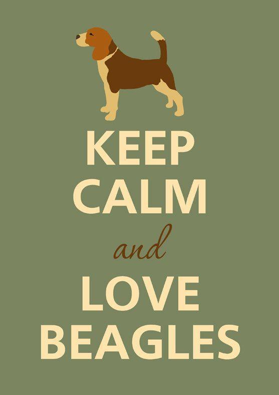 Mantener la calma y amor beagles por KCalmGallery en Etsy