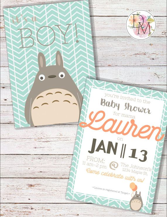Totoro Boy Baby Shower Invitation  This is a design I custom made for a friend who loves the show My Neighbor Totoro, and I thought it too cute