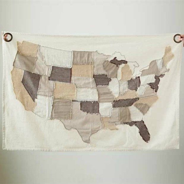 Quilted United States Map Wall Tapestry