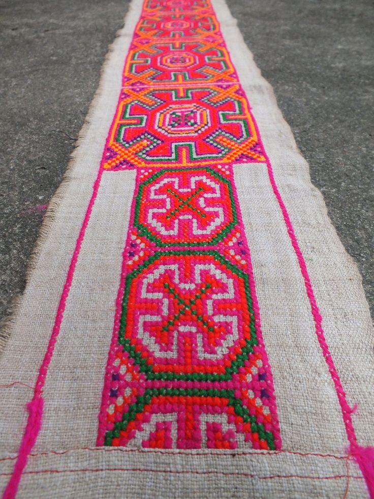 Vintage Hmong Fabric, handmade cross stitch hemp,fabric- textiles,-hill tribal fabric. $48.00, via Etsy.