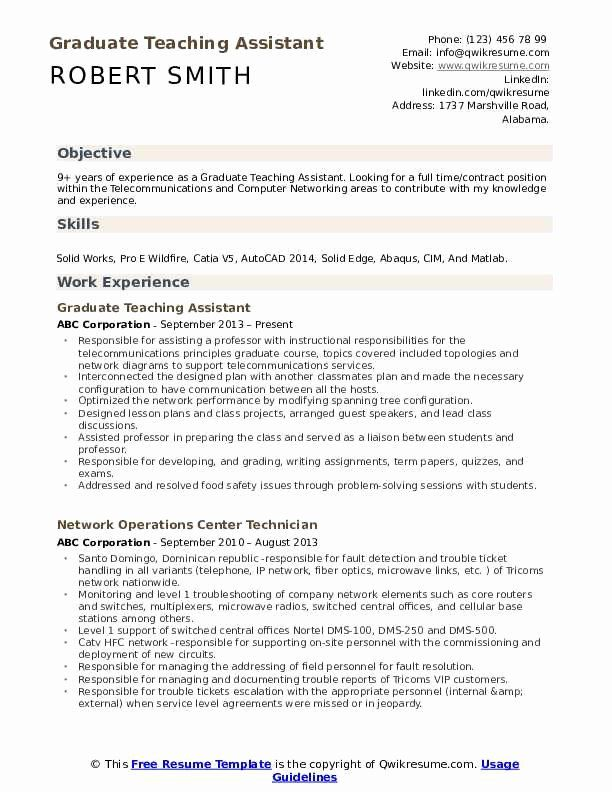 Teaching Assistant Resume Example Luxury Graduate Teaching Assistant Resume Samples In 2020 Teaching Assistant Job Description Teacher Aide Jobs Job Resume Samples