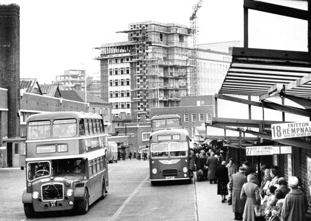 Norwich Bus Station in March 1961, with Norwich Union building construction work continuing in the background.