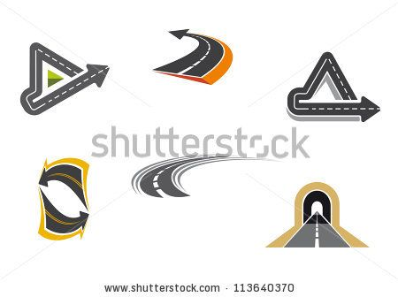 stock vector : Set of road and highway icons and symbols for transportation design, such a logo template. Jpeg version also available in gallery