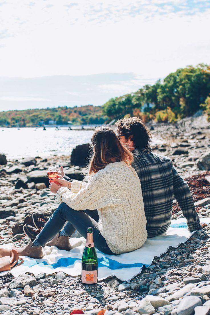 Beach picnic in the fall