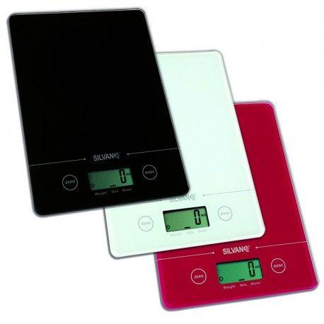 Bascula rectangular electrónica de cocina con pantalla LCD y pila de litio