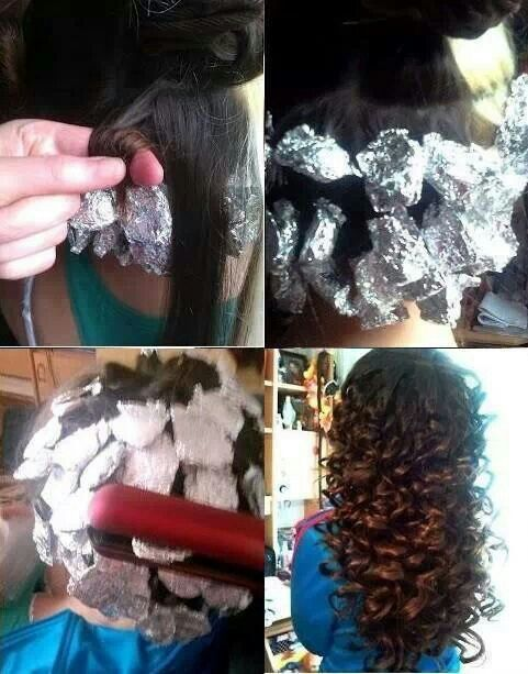 Curl hair with flat iron and foil