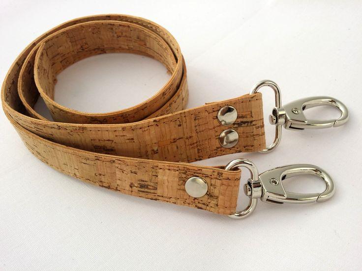 Handmade natural Cork straps/ handles for bags with hooks finishing. Χειροποίητα λουριά για τσάντες απο φελλό για τσάντες και κατασκευές.