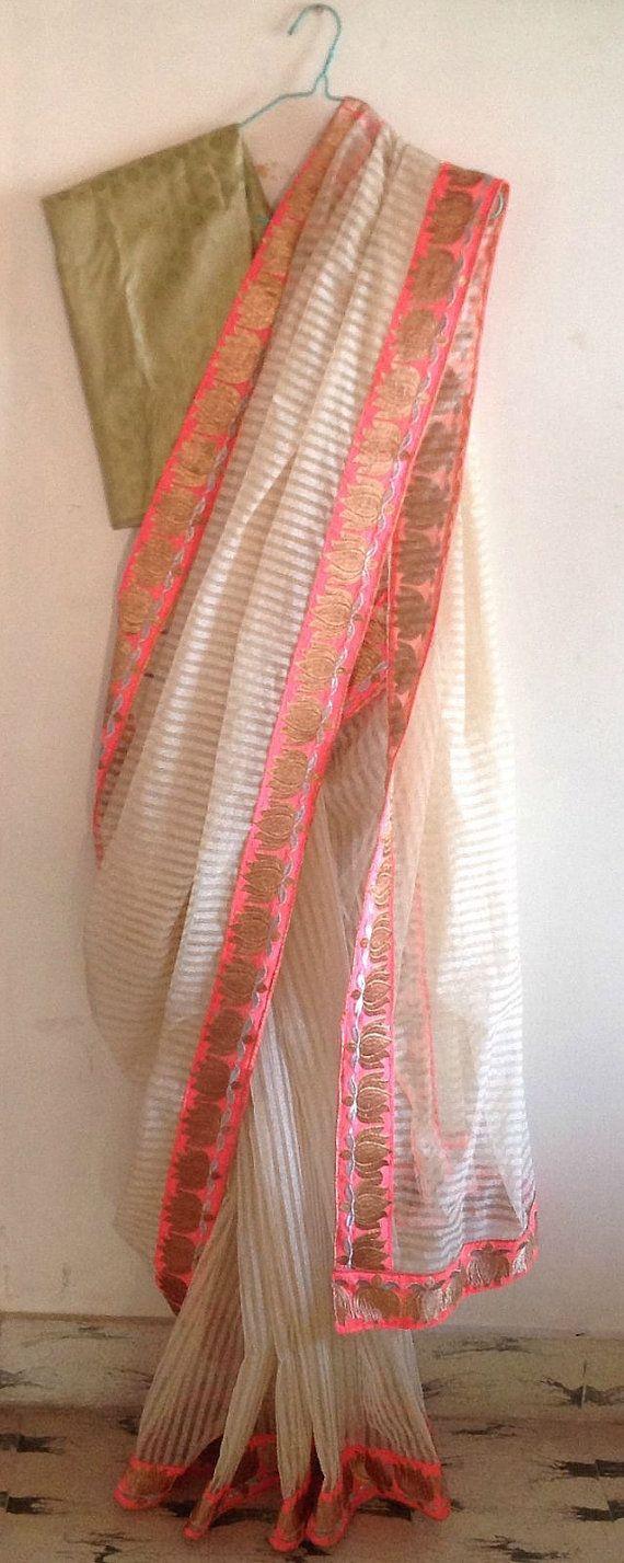 White handmade net kota designer saree for by GiaExquisiteIndian