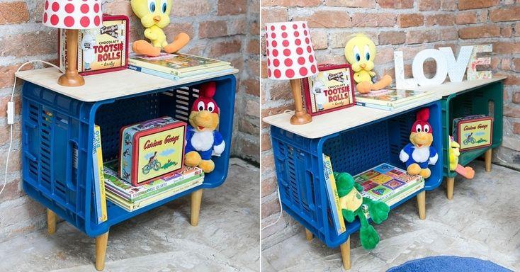 Caixa de feira pode ser transformada em estante para o quarto infantil - Gravidez e Filhos - UOL Mulher