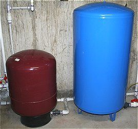 A water pressure tank is essential for continuous water pressure from the well to the house. Here are two size tanks plumbed into the same system.