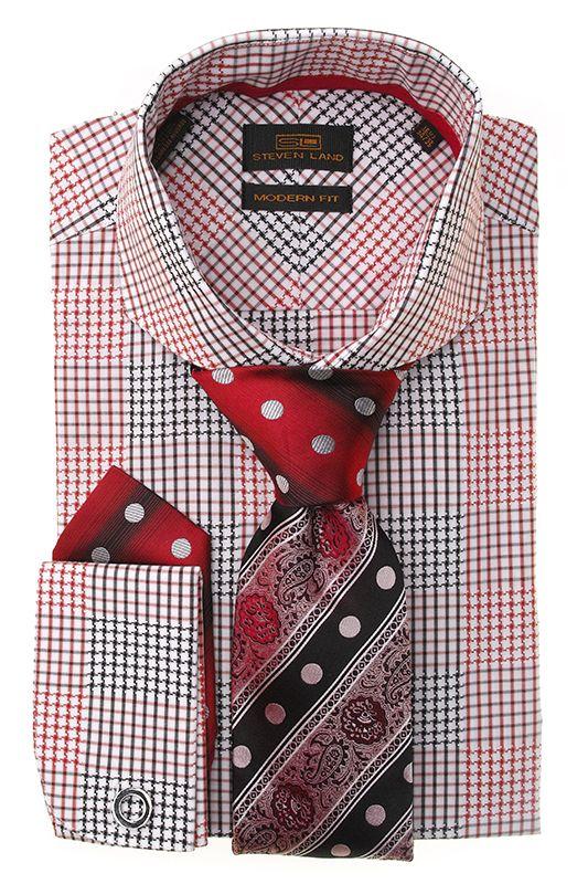 Steven Land Fashion Dress Modern 100% cotton modern/classic fit shirts DM1265 | Red $69 #StevenLand #Reds