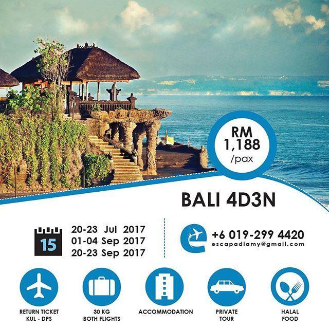 Haaa... Mari2 semua. Bile lagi nak bawak anak Bini gi jenjalan? Nah... Pergi tengok Pulau Dewata di Bali ni. 👤 minimum of 2pax 💵 Deposit: RM450/pax 📅 Promotion: Now until 4th March 2017 10:00PM 📱 WhatsApp to +6 019-2994420 to discuss further / for full itinerary.  Let's travel and create your best memory here. 😍😍😍 .. ❤️LIKE, FOLLOW, COMMENT, SHARE and TAG YOUR FRIENDS❤️ .. #bali #indonesia #escapadiamy #travel #cutimurah #muslim #halalpackage #international #cheap #instatravel…