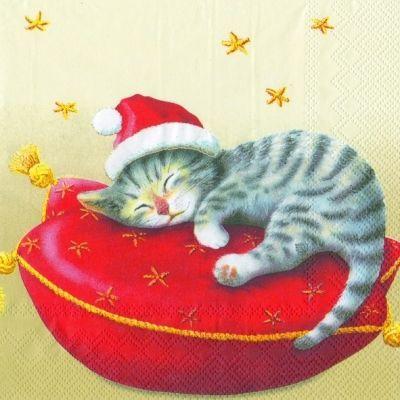 Servetten Kerstmis Kitten