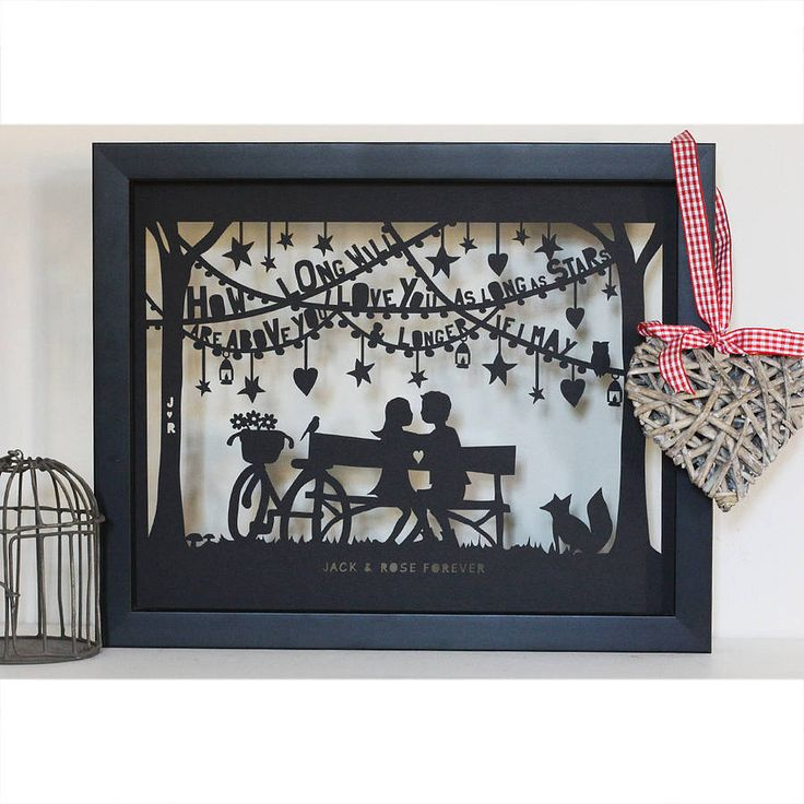 'lovers' papercut or print to personalise by mimi & mae   notonthehighstreet.com   Mount only £55.00   Glass floating frame £90.00
