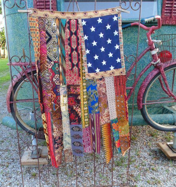 Boho American Flag Southwestern Ethnic tribal mix gypsy hippie apartment decor wall art
