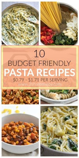 10 budget friendly pasta recipes. Save money on groceries with these frugal dinner ideas.
