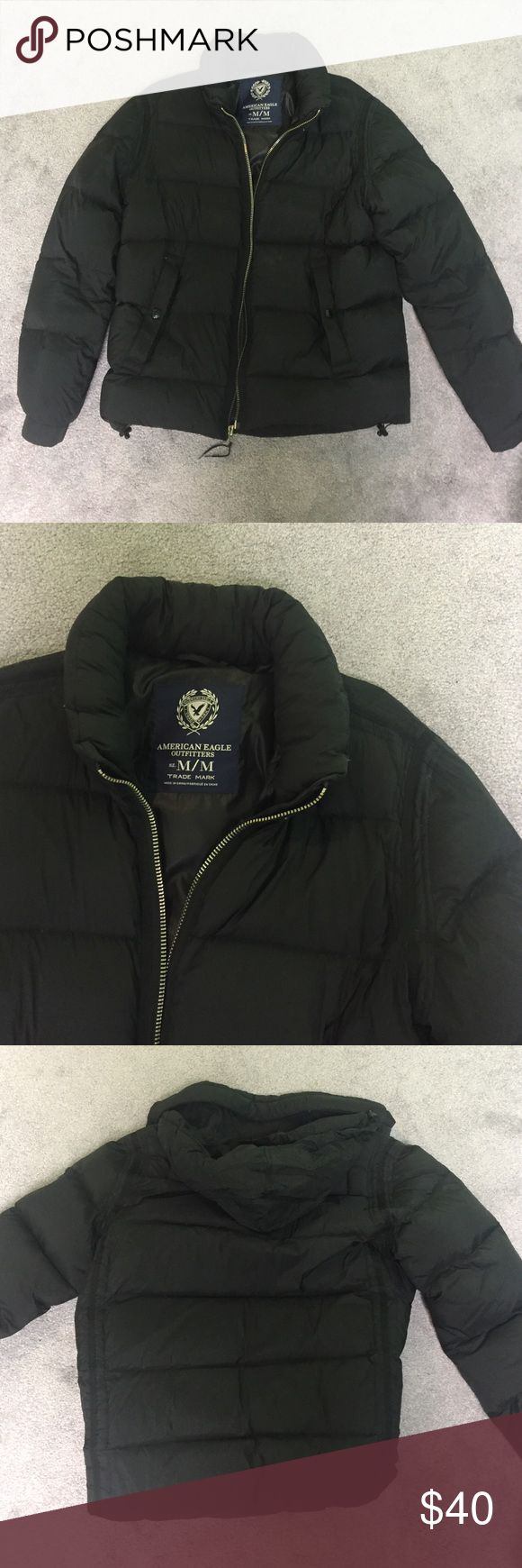 ✨ American eagle men's puffer coat American eagle puffer coat, size medium, black, 70% down, hideaway hood, elastic cuffs, snap pockets in front, inside pocket, bungee cord waist, great condition! American Eagle Outfitters Jackets & Coats Puffers