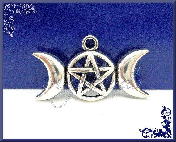 4 Triple Moon Goddess Pendants  Pentagram Pendants  by sugabeads