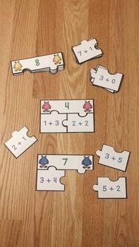 Decomposing Numbers Kindergarten Puzzles K.OA.3 are a valuable asset to any kindergarten classroom. This is a great resource for review, math centers, group work and for math interventions. This puzzle set includes 10 puzzles (covering numbers 1-10), answer key, and an optional center instruction page. Your students will love this number bonds to 10 activity!