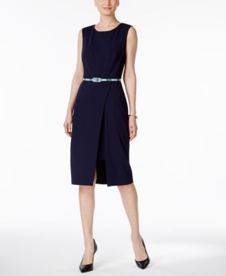 Connected Petite Belted Sheath Dress - Blue 10P
