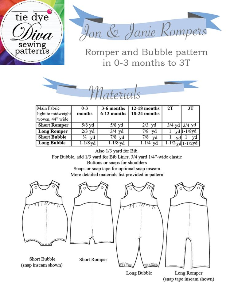 Image of Jon & Janie Romper and Bubble 0 to 3 years PDF Sewing Pattern