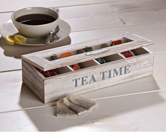 Tea Box   Wood Tea Box  Tea Storage Organizer by WoodsOfNarnia