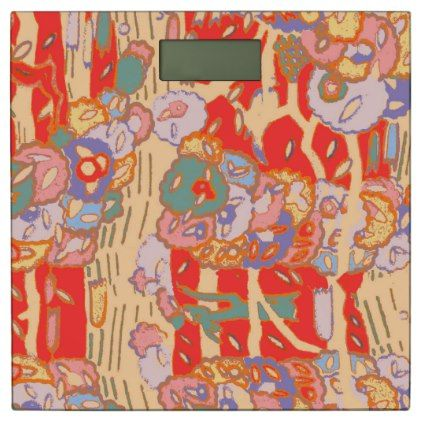 #Red Abstract Art Print Floral Colorful Modern Bathroom Scale - #Bathroom #Accessories #home #living