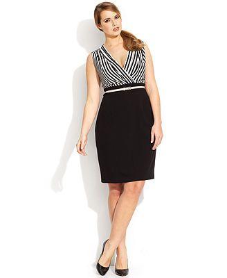 Calvin Klein Plus Size Striped Belted Dress #plussizedresses #plussizefashion