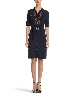 I absolutely adore shirt dresses. Here, the dress is perfect but it's accessorized wrong. I don't like the strappy contrast heels and I don't like the cluster necklaces. I would do pearls instead, of course.
