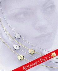 Collana filo oro 18kt con con inserto a forma di fiore con zircone -. jewellery - diamond