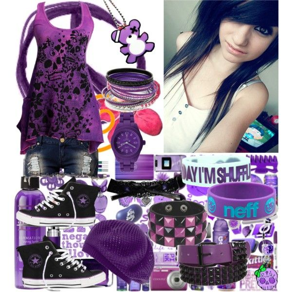 Scene/Emo Outfits #1: Purple by cutecrossbones on Polyvore featuring polyvore, fashion, style, Club L, Converse, Toy Watch, Neff, clothing, purple and scene