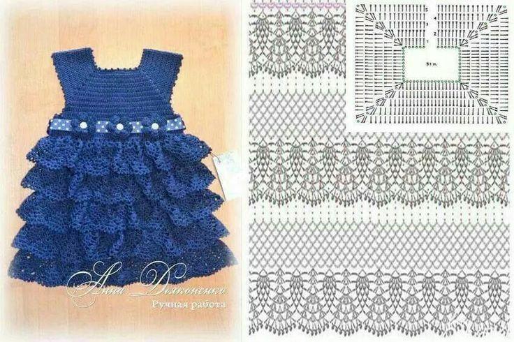 Crochet. Patrón de vestido para niña. http://www.patronesmil.es/vestido-de-volantes-para-nina.html