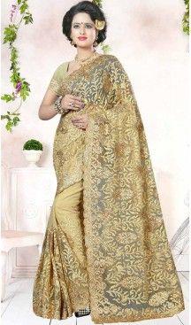 Designer Embroidery Beige Color Net Ethnic Wear Sarees   FH527280281 >>Follow Us @heenastyle <<< ------------------------------------ #traditionalwear #ethnicwear #ethniccollection #onlinesarees #photoshoot #model #designersarees #sari #designersaris #attractive #beautiful #classy #usa #newyork #newjersey #australia #italy #unitedkingdom #golden #womenscloth #womenfashion #weddingseason #weddingwear #bridalwear #heenastylesaree #sarees #blouses #party #designerblouses  #bollywood