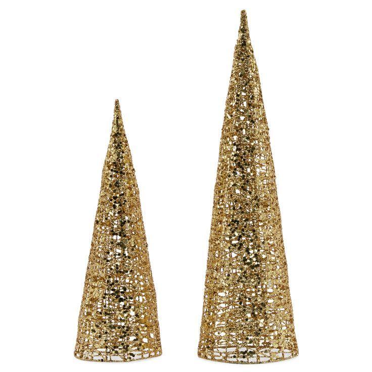 Belham living unlit tabletop glitter cone christmas tree