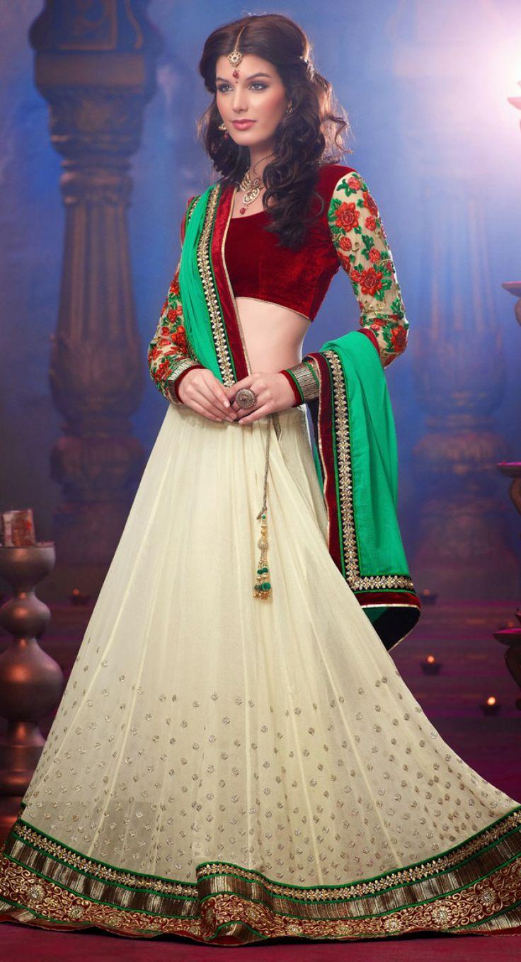 Attractive Off White #Lehenga #Choli