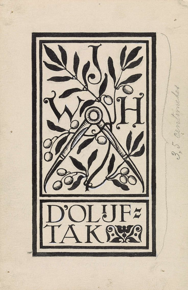 Antoon Derkinderen | Ontwerp voor vignet voor de architect Hanrath, Antoon Derkinderen, c. 1869 - c. 1925 |