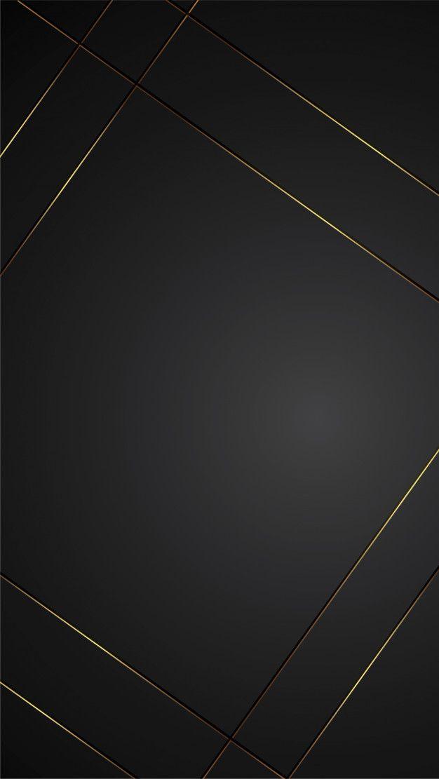 Luxury Black Background Banner Illustration With Gold Strip Art