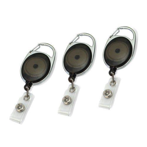 Pinzhi® 3x Mousqueton Noir Style Bobine rétractable clés chaîne Carte d'identité Badge Support bureau neuf